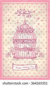 Happy wedding day hand drawn graphic romantic cute card