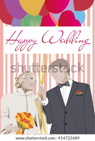 Happy Wedding Love Wife Husband Flowers Stock Vector Royalty Free