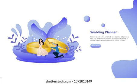 happy wedding planner. just married couples. wedding design on white background illustration with people character for web landing page template, banner, presentation, social or print media - Vector