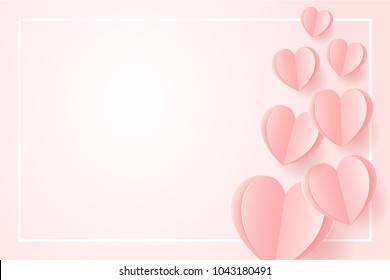 Happy Wedding postcard with love symbol paper art flying elements on white pink background. women's, birthday, mother's day, anniversary greeting card design. Eps10 vector illustration