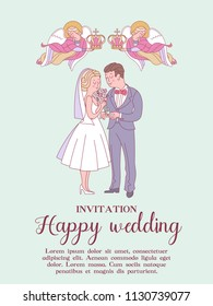 Happy weddings. Wedding card. Wedding invitation. Bride and groom. Two angels hold wedding crowns over the heads of the bride and groom. Cute vector illustration.