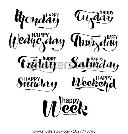happy week weekend monday tuesday wednesday のベクター画像素材