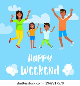 Happy Weekend Square Banner. Happy Family. Cheerful Man, Woman, Little Boy and Girl with Hands Up Flying on Blue Cloudy Sky Background. Parents with Son and Daughter. Cartoon Flat Vector Illustration.