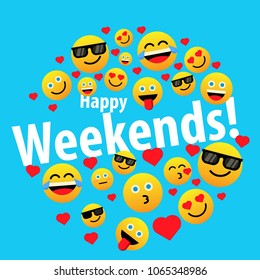 happy weekends, label or sign for greeting card or poster