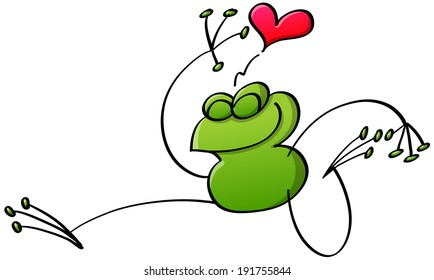 Happy weird frog in a minimalist style jumping out of joy, smiling, clenching its eyes and showing it is in love