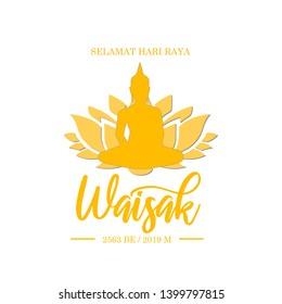 Happy Wesak day greeting card design template. Selamat Hari Raya Waisak greeting card banner.
