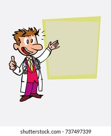 Happy white doctor makes the gesture of ok. Is showing, as in a presentation, the data you want.