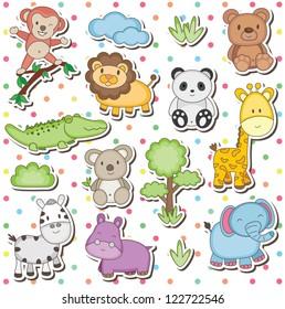 Arte clip de animales salvajes felices