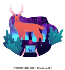 Happy wildlife day illustration. a man take a photo of Wild deer data information with decoration for animal care and conservation.
