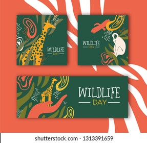 Happy wildlife day illustration set. Wild animals with african safari decoration for animal care and conservation. Includes giraffe, monkey, toucan bird.