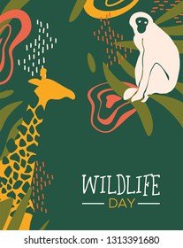 Happy wildlife day illustration. Wild animals with african safari decoration for animal care and conservation. Includes giraffe, monkey, toucan bird.