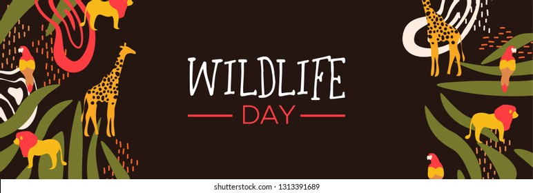 Happy wildlife day web banner illustration. Wild animals with african safari decoration for animal care and conservation. Includes giraffe, lion, bird.