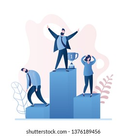 Happy winner businessman and two sad business losers on podium,successful person  concept,trendy style vector illustration