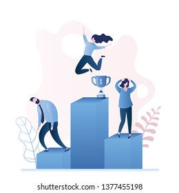 Happy winner businesswoman jumping and two sad business losers on podium,successful person concept,trendy style vector illustration