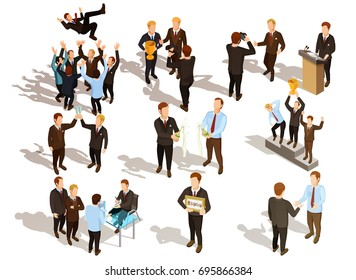 Happy winner male business people qwerty set isolated on white background isometric vector illustration