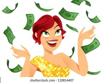Happy winner with money flying around her