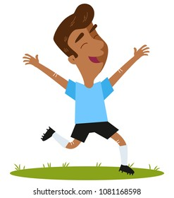 Happy winning South American cartoon outfield player wearing blue shirt and black shorts running and jumping joyfully isolated on white background