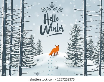 Happy Winter with Forest Landscape and fox animal