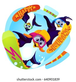 Happy winter holidays. Cartoon penguins snowboarders vector illustration on isolated background. Funny animal characters jumping on snowboards in the ski resort