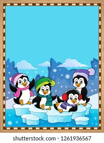 Happy winter penguins topic parchment 1 - eps10 vector illustration.
