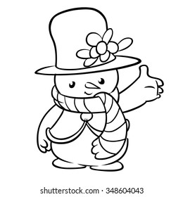 Happy winter snowman with hat and scarf line art icon. Christmas outlined character
