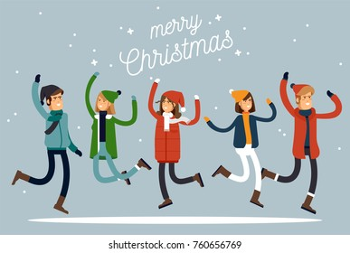 Happy winter vacation. Warmly dressed people in the jump. Merry chrismas vocation. Vector illustration in a flat style