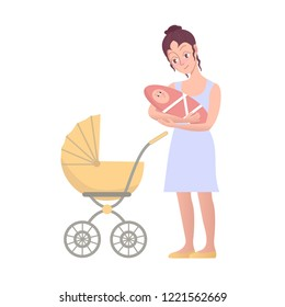 Happy Woman with baby carriage and holding a newborn baby. Isolated on white background. Vector cartoon illustration in flat style