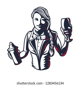 Happy woman bartender or barman young girl at work silhouette with shaker in old engraved style retro vintage graphic design logo template stamp isolated on white background Vector illustration emblem