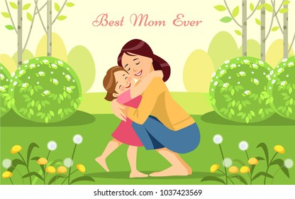 Happy woman and child in the blooming spring garden.Mothers day holiday concept. Vector illustration