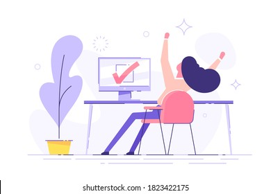 Happy woman completed task and triumphing with raised hands on the his workplace.  Successful well done work. Completed task. modern vector illustration.