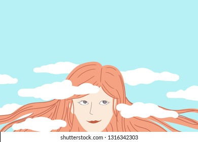 Happy woman daydreaming with her head in the clouds with copy space