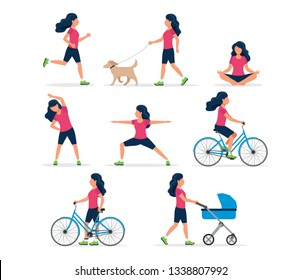 Happy woman doing different outdoor activities: running, dog walking, yoga, exercising, sport, cycling, walking with baby carriage. Vector illustration in flat style, healthy lifestyle concept.