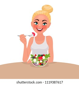 Happy woman is eating a salad. Vegetarian. The concept of proper nutrition and healthy lifestyle. Vector illustration in cartoon style