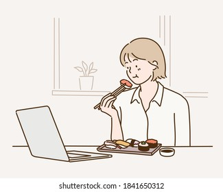 Happy woman eating sushi with chopsticks while using laptop in home. Hand drawn style vector design illustrations.
