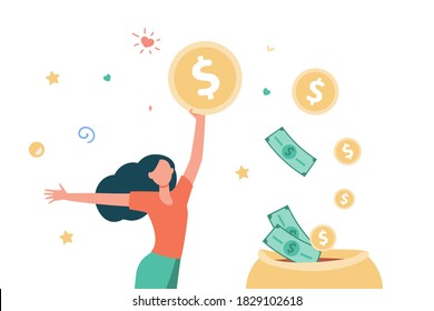 Happy woman getting cash. Person saving money, getting profit or high income flat vector illustration. Earning, finance, success concept for banner, website design or landing web page