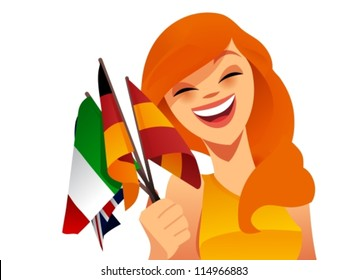 Happy woman holding flags from various european countries