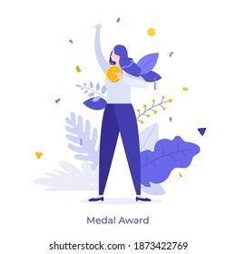 Happy woman holding golden medal and celebrating victory. Concept of business success, competition winner, champion or leader, triumph, prize award. Modern flat vector illustration for poster, banner.