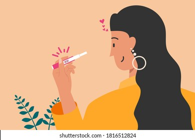 Happy Woman Holding Pregnancy Test with Two Line Marks as Positive Result Flat Design Vector Illustration. Urine Sample Analyzing Kit. Ideal for Digital and Print Infographic.