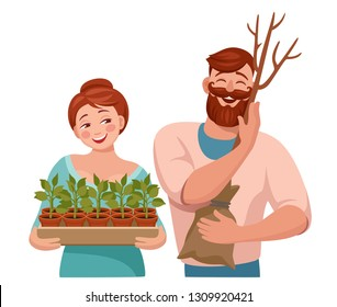 happy woman holding saplings. A happy man embracing a sapling tree. products for garden