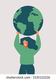 Happy woman holds the green planet Earth. Vector illustration of Earth day and saving planet. Environment conservation and energy saving concept.