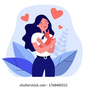 Happy woman hugging little dog. Pet care, puppy, love flat vector illustration. Domestic animals, breed, friendship concept for banner, website design or landing web page