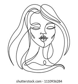 Happy Woman Kissing One Line Art Portrait. Joyful Female Facial Expression. Hand Drawn Linear Woman Silhouette. Vector illustration