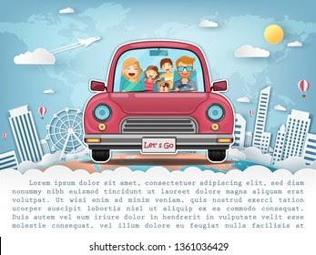 happy woman and man traveler and dog on red car with check in point travel around the world concept on blue background Design. content paper art, vector, banner, Card, Poster,