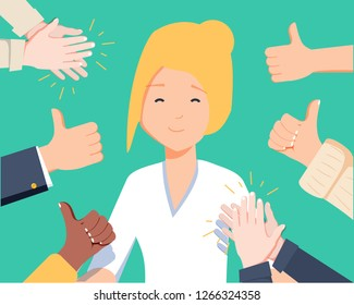 Happy woman portrait with thumbs up and human hands clapping isolated on background. Thumbs up flat hands for social network, blog and app. Party celebration concept. Happy woman, vector illustration