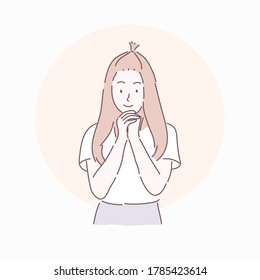 Happy woman posing and holding both hands Similar to prayer. Hand drawn character style vector.