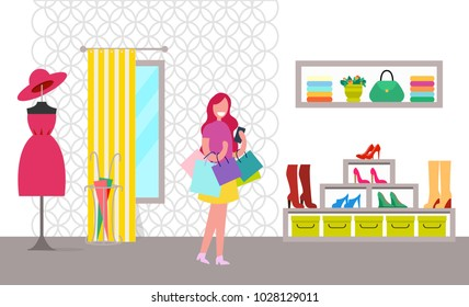 Happy woman with purchases in bright clothes store, modern pink dress on hanger, shelf with handbag, rack with different model of shoes, dressing room