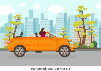 Happy Woman Riding Cabriolet Car in Summer Day in City. Fashionable Girl with Long Hair Driving Orange Convertible Machine. Female Lifestyle. Traveling by Automobile. Cartoon Flat Vector Illustration.