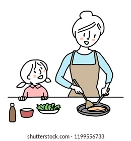 Happy woman sauteing food in a pan and her child want to help cooking meal excitedly. Mom and kid spending cooking time together. Happy family concept with mother and daughter cooking food together.