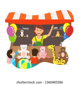 Happy Woman Selling Toys Flat Vector Illustration. Young Saleswoman and Joyful Children Cartoon Characters. Gift Shop with Plush Teddy Bears. Presents Kiosk, Soft Toys Store, Retail Service