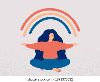 Happy woman sits in lotus pose and open her arms to the rainbow. Smiled girl creates good vibe around her. Smiling female character enjoys her freedom and life. Body positive and health care concept